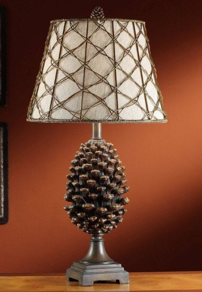 Pine bluff table lamp pinecone rustic log cabin lake lodge pine cone description rustic pine bluff pinecone table lamp mozeypictures Image collections