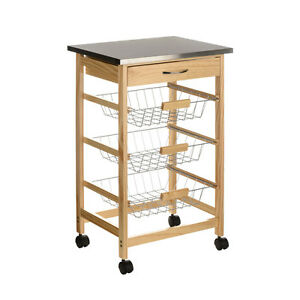Pinewood Kitchen Cart Trolley Stainless Steel Top Wire Baskets Drawer Wheels Ebay