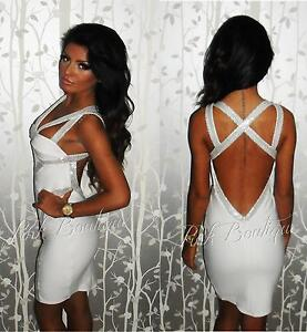 White Bodycon Dress on Felicity White Sequin Backless Bodycon Criss Cross Pencil Dress   Ebay