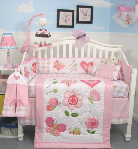 Pink Butterflies Kisses Baby Crib Nursery Bedding 13pcs Set included Diaper Bag in Baby, Nursery Bedding, Crib Bedding | eBay