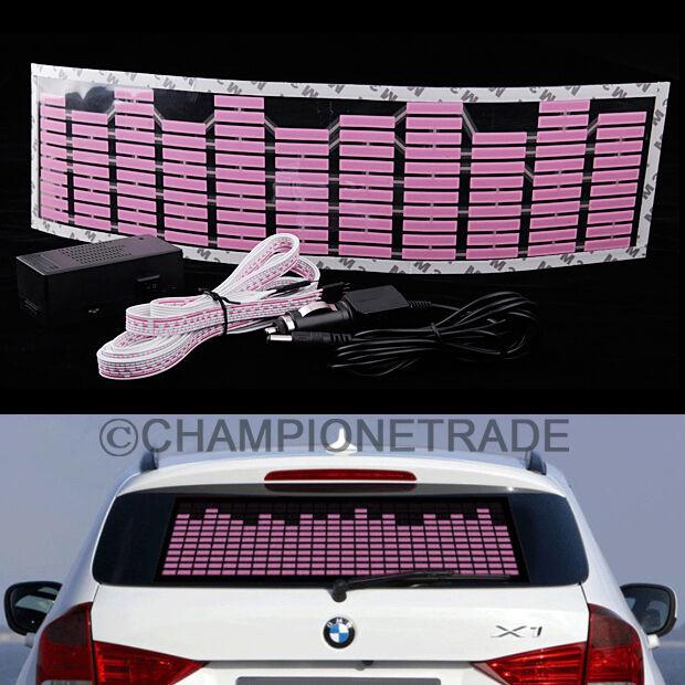 Pink Car Music Rhythm LED Flash Light Lamp Sticker Sound Equalizer Decorative