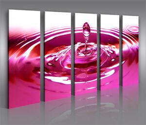 pink drop 5 bilder bild wassertropfen auf leinwand. Black Bedroom Furniture Sets. Home Design Ideas