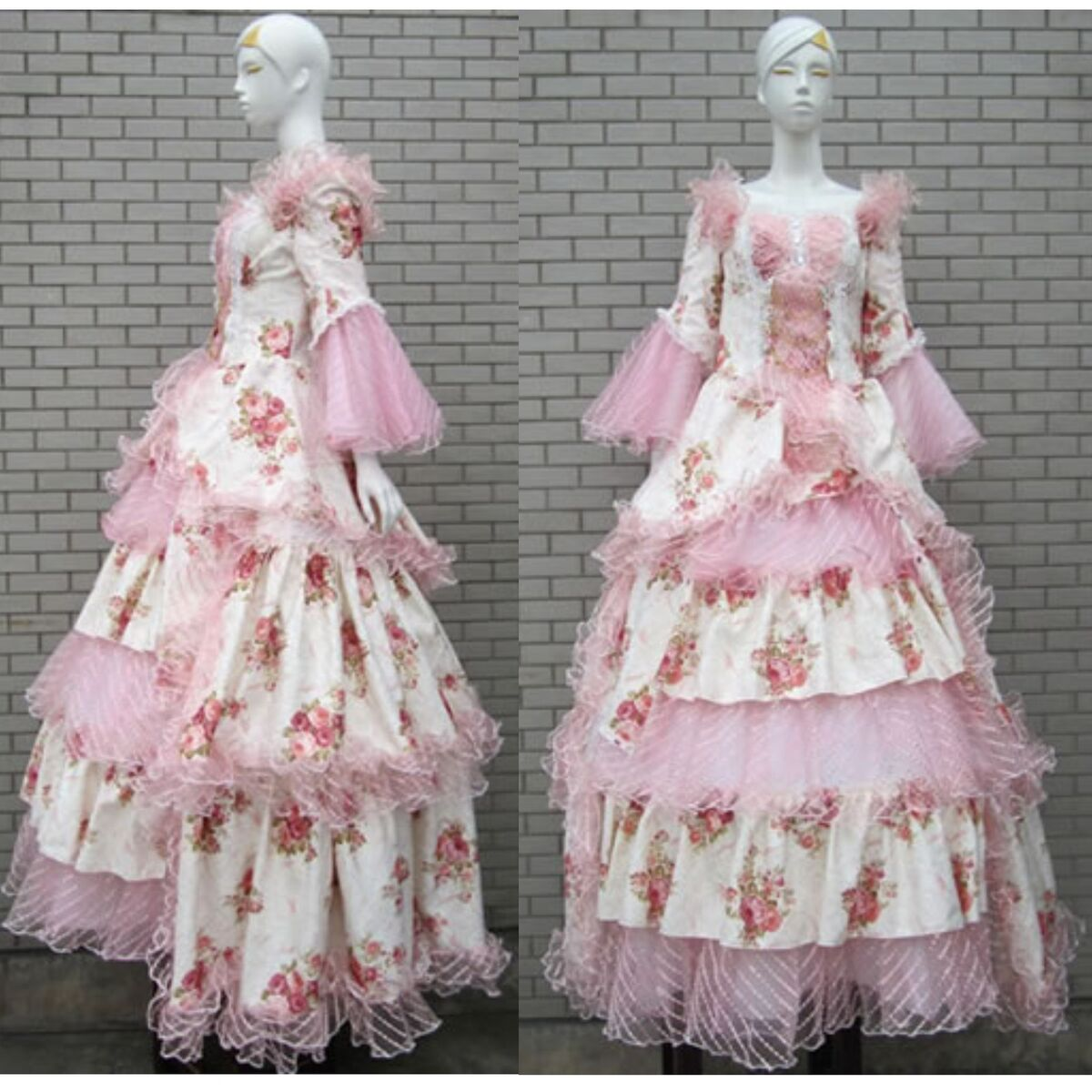 Pink Floral Lace Southern Belle Lolita Masquerade Wedding Ball Gown Prom Dress