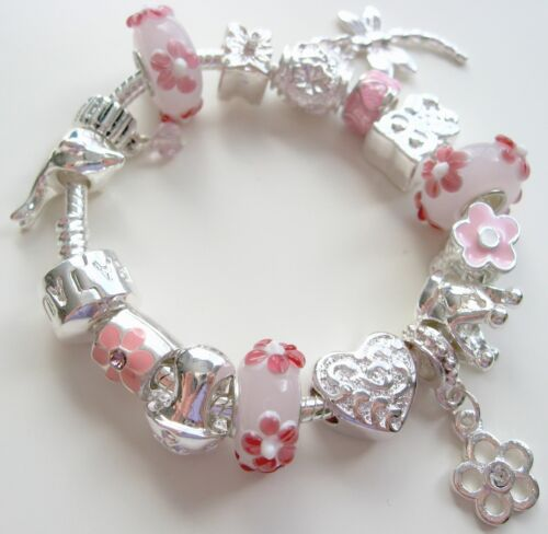 Pink Flower Lampwork Child Dragonfly Love Heart Flower Girl Charm Bracelet in Jewelry & Watches, Children's Jewelry, Bracelets | eBay