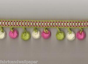 Pink green white ball trim pom pom fringe fuchsia