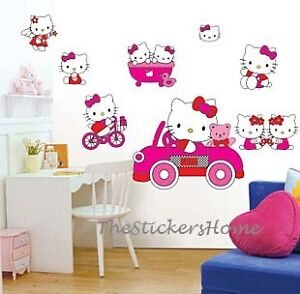 Hello kitty wall stickers girls room decor removable vinyl art decals