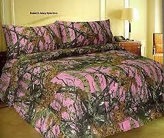 Pink King Size Comforter Camouflage Woods Hunter Camo In