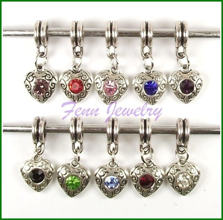 Pink Purple Blue Rhinestone Love Heart Dangle Slider fit European