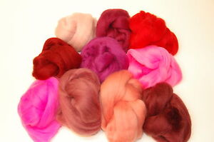 Pink-Red-Merino-Wool-rovings-tops-10-Blush-hues-wet-needle-felting-spinning