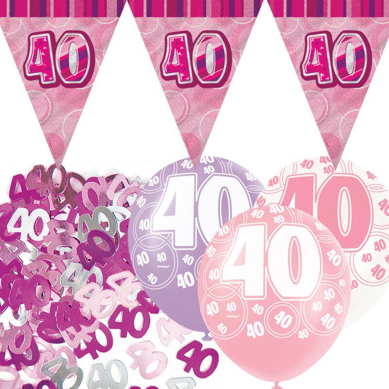 Pink silver girl glitz 40th birthday flag banner party for 40th birthday decoration packs