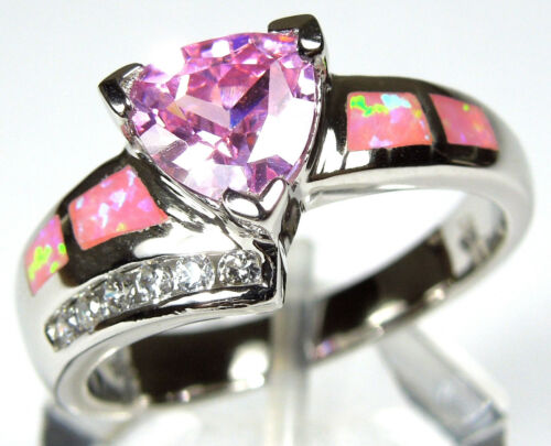Pink Topaz & Pink Fire Opal Inlay Solid 925 Sterling Silver Ring size 6, 7, 8, 9 in Jewelry & Watches, Fine Jewelry, Fine Rings | eBay