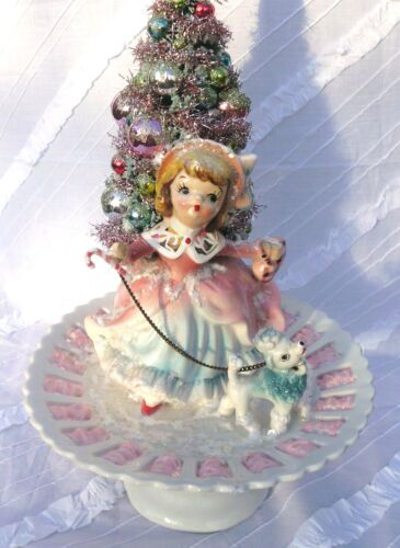 Pink Vintage Christmas Girl Figurine Girl w/ Poodle & Bottle Brush Tree OOAK! in Collectibles, Holiday & Seasonal, Christmas: Vintage (Pre-1946) | eBay