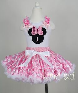 Dots pettiskirt minnie mouse 1st birthday 2pc party dress 1 7y ebay