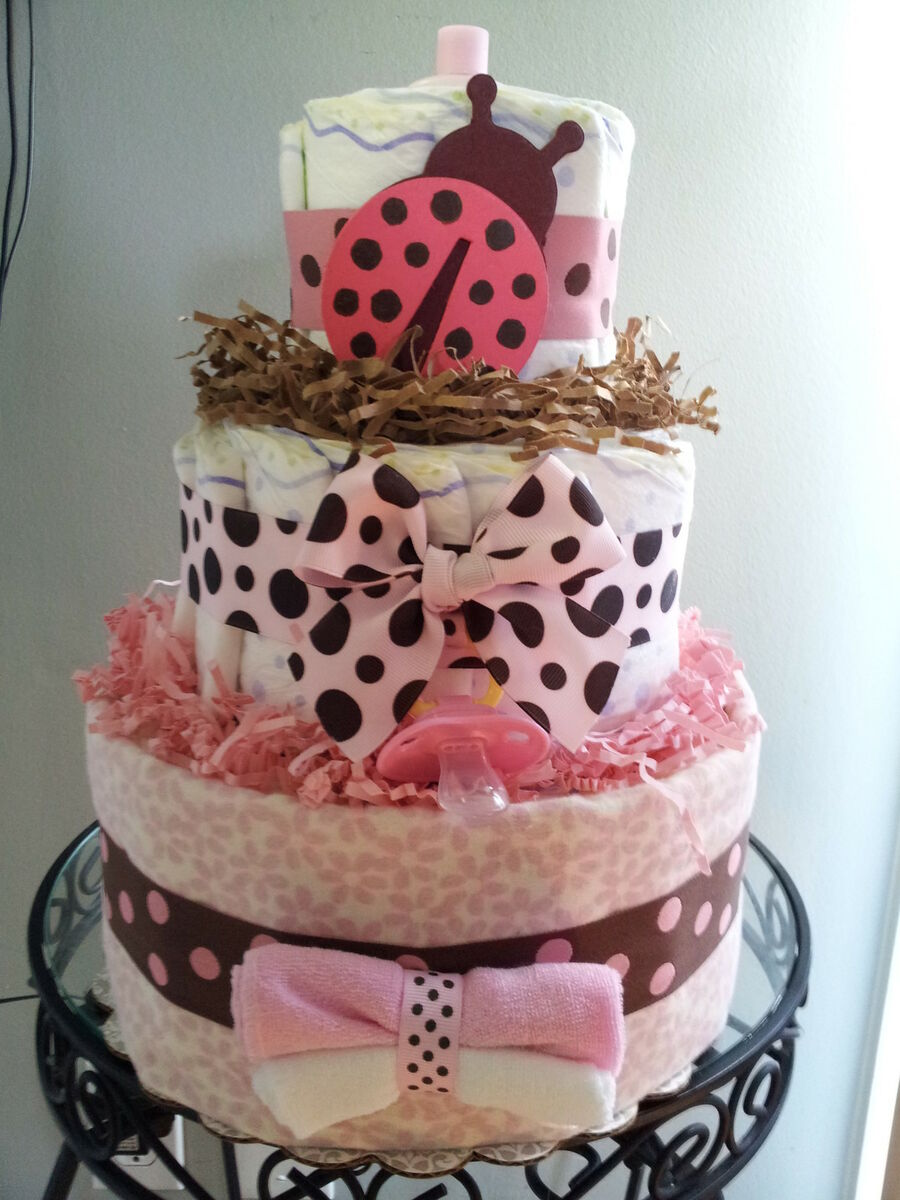 Ladybug 3 tier diaper cake baby shower decoration centerpiece