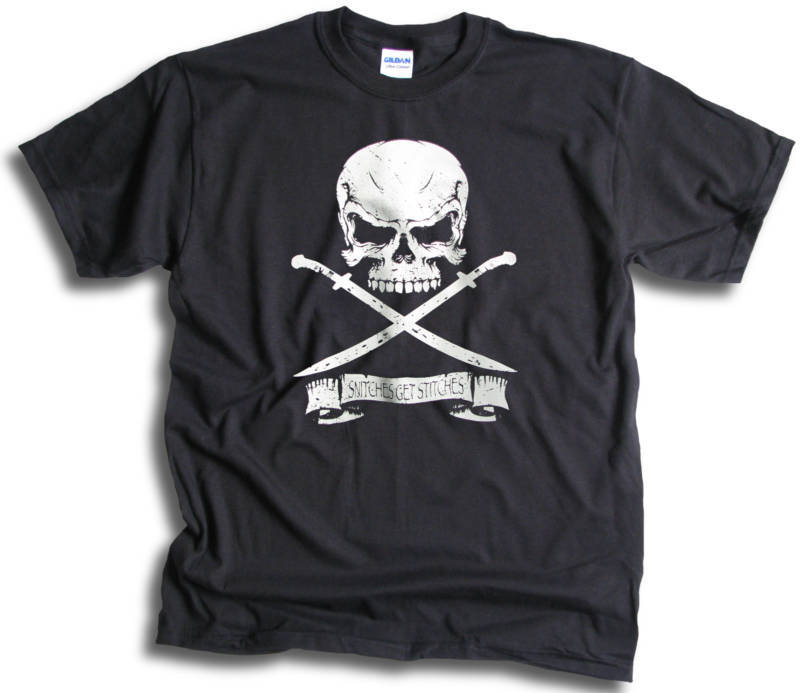 Pirate Skull Sword Snitches get Stitches Mens Womens T shirt Sm 3XL 3