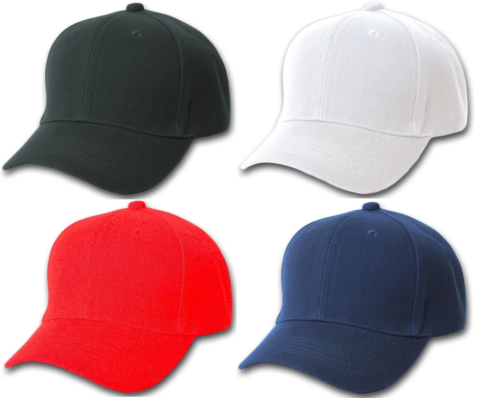 54c7a69adcd Plain Baseball Cap Blank Hat Solid Color Velcro Adjustable Black Blue Red  White