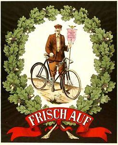 Plakat-Fahrrad-Reklame-farbig-Werbung-1890-Frisch-auf