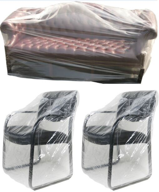 Plastic Sofa Chair Removal Storage Covers Bags Single Chair 2 3 Seater Covers Ebay