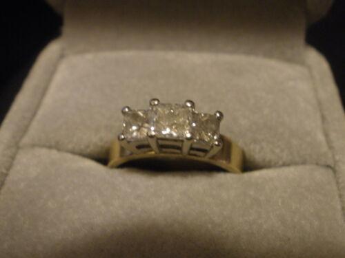Platinum 14k Yellow Gold Diamond Three Stone Princess Cut Engagement Ring 1 ctw. in Jewelry & Watches, Engagement & Wedding, Engagement Rings | eBay