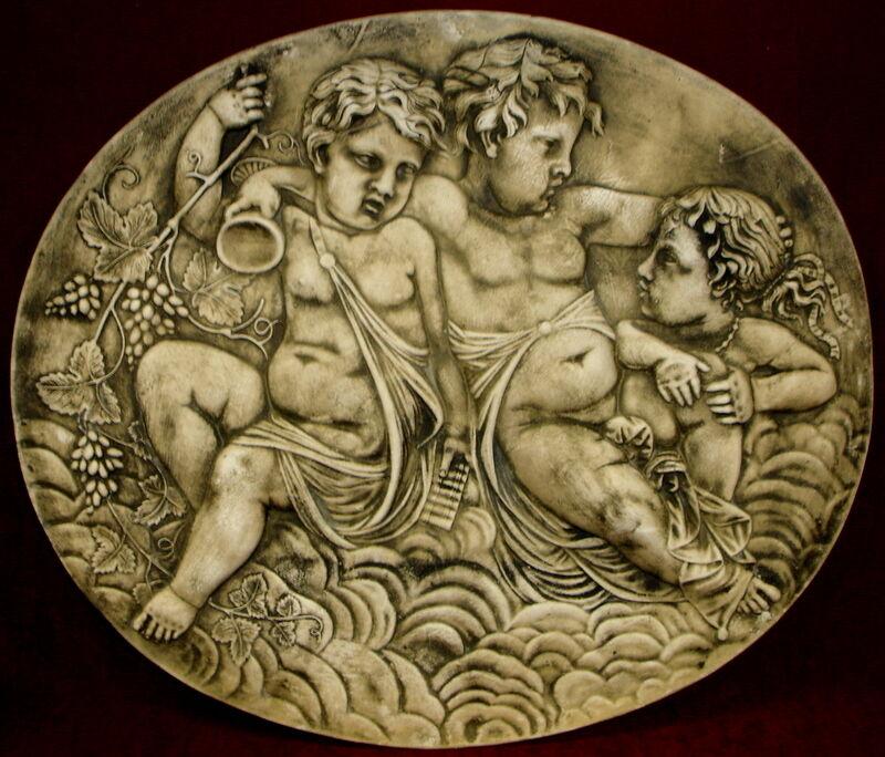 Playing Cherubs Angel Cupid Greek Wall Sculpture Plaque