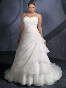 Size Evening Dress on Plus Size White Ivory Lace Organza Empire Line Wedding Bridal Dress