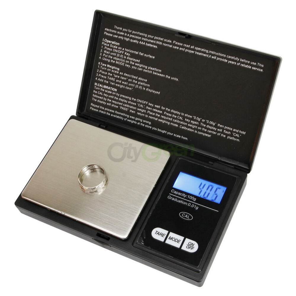 Pocket 100g x 0.01g Digital Jewelry Gold Gram Balance Weight Scale