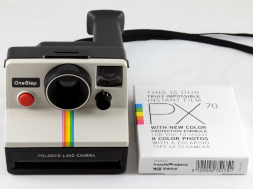 Polaroid SX-70 One Step White Rainbow Stripe Instant Land Camera w/ Film TESTED in Cameras & Photo, Film Photography, Film Cameras | eBay