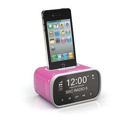polaroid ipod iphone docking station speaker dual alarm clock fm radio in pink ebay. Black Bedroom Furniture Sets. Home Design Ideas