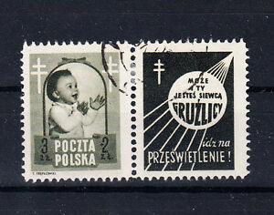 Polen-Briefmarken-1948-Bekaempfung-der-Tuberkulose-Mi-Nr-511-mit-Zierfeld-2