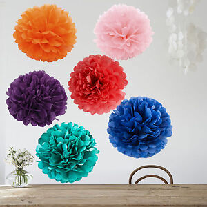 pom poms papier blume deko kugel seidenpapier pompons hochzeit fest farben diy ebay. Black Bedroom Furniture Sets. Home Design Ideas