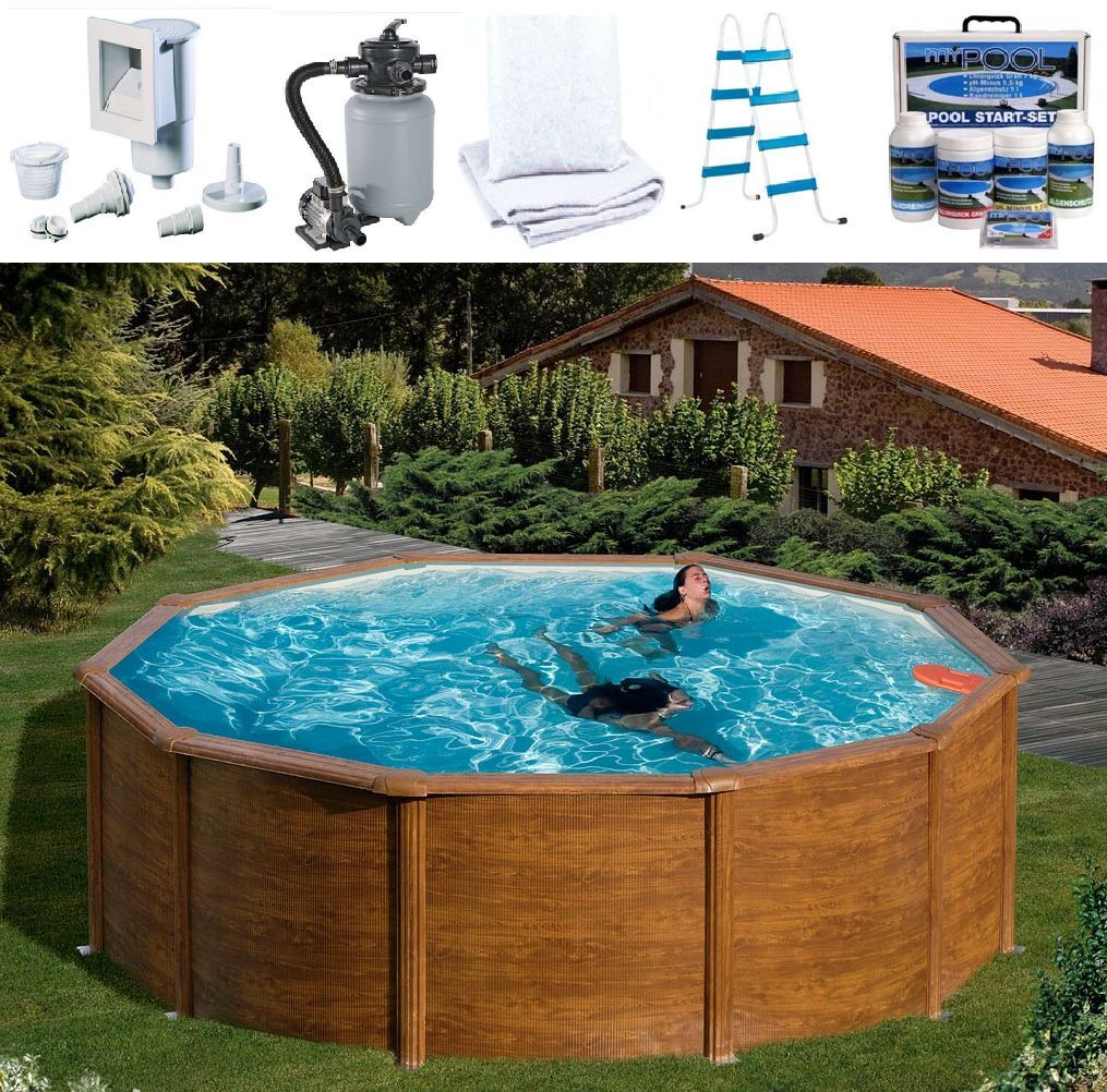 Arcana pool set feeling rundbecken 300 x 120 holzoptik for Gartenpool holzoptik