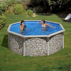 Pool set stahlwand schwimmbecken steindekor 3 50 x 1 20m for Schwimmbecken stahlwand set