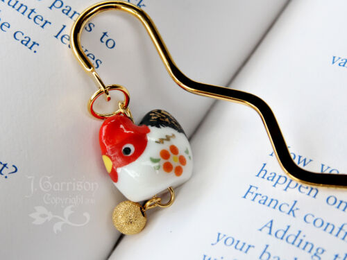 Posh chicken bookmark - red & white hen with gold egg on gold bookmark in Books, Accessories, Bookmarks | eBay