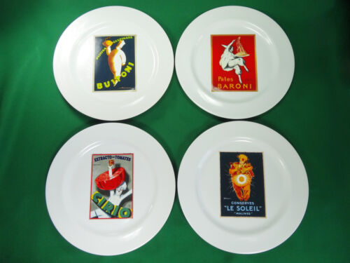 Pottery Barn VINTAGE POSTERS Set of 4 Dinner Plates EXCELLENT! in Pottery & Glass, Pottery & China, China & Dinnerware | eBay
