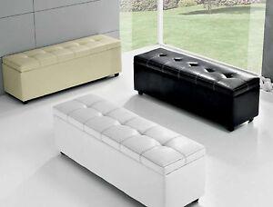 Pouf cassapanca panca contenitore salotto divanetto ecopelle imbottita 3 colori ebay - Ikea panca contenitore ...