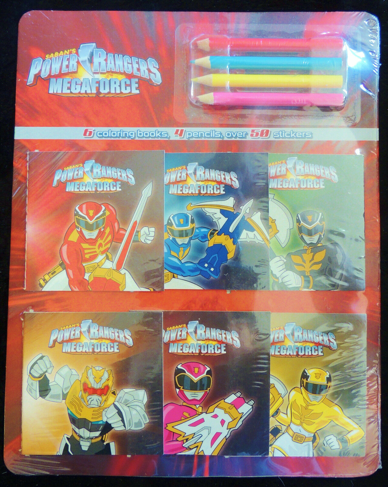 This Is A Brand New Set Of 6 SABANS POWER RANGERS MEGAFORCE MINI COLORING BOOKS