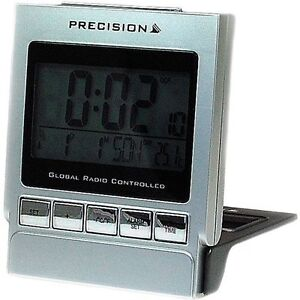 Precision-Global-Radio-Controlled-Silver-Compact-Travel-Alarm-Clock-AP110-New