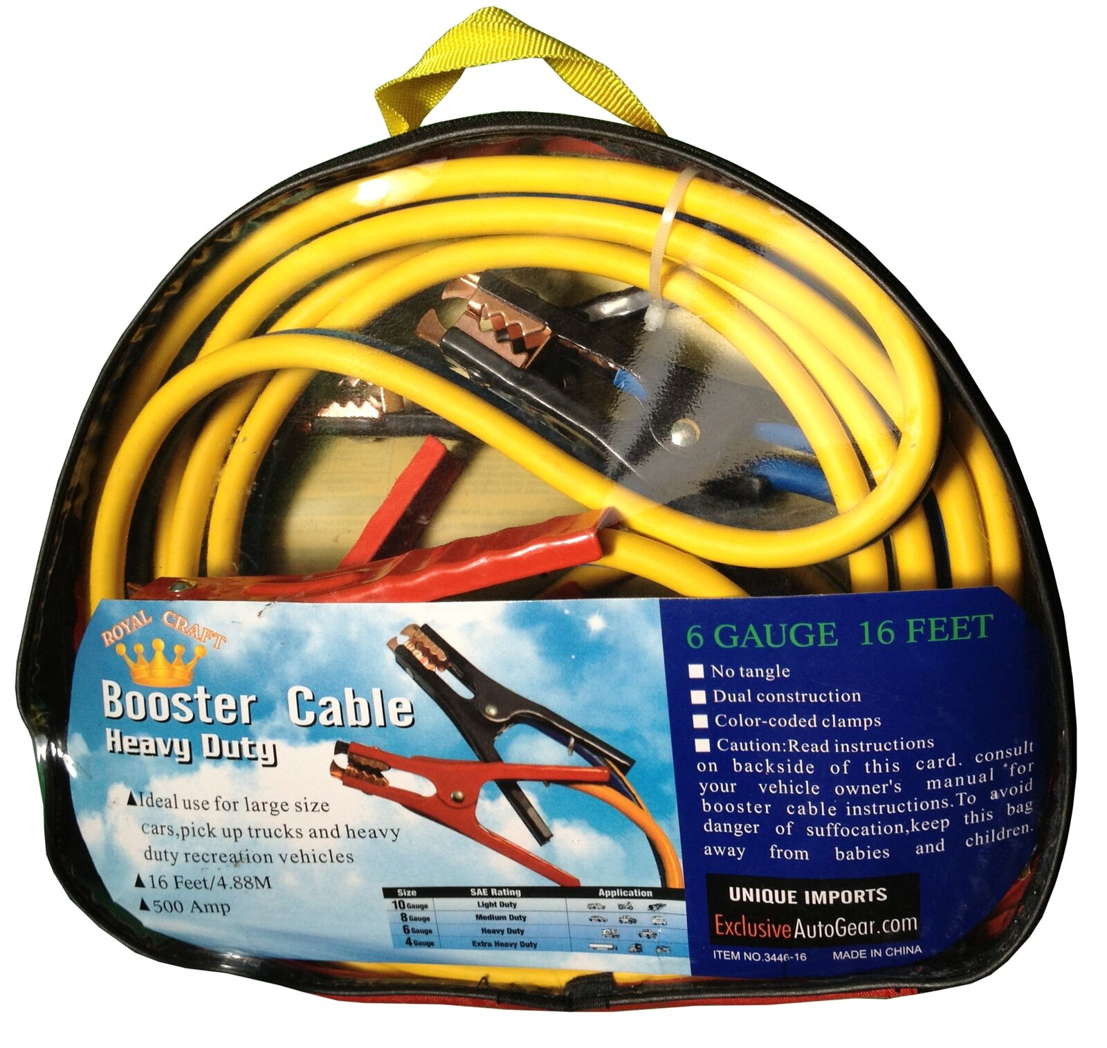 Premium booster cable ft amp gauge heavy duty