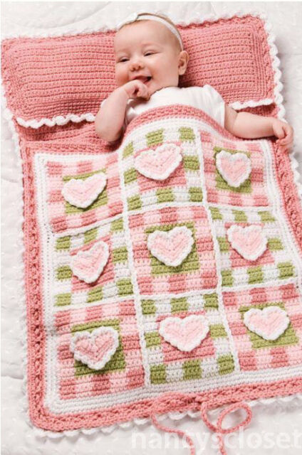 Pretty Crochet Patterns : Details about Pretty Hearts Baby Sleeping Bag Crochet Pattern