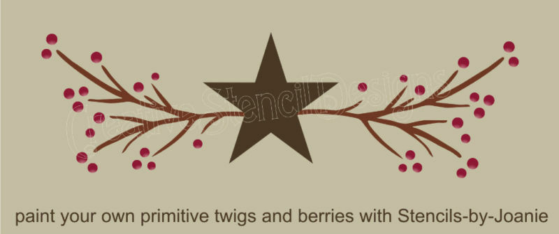 Primitive STENCIL Country Twigs Pip Berries Natural Branches Star