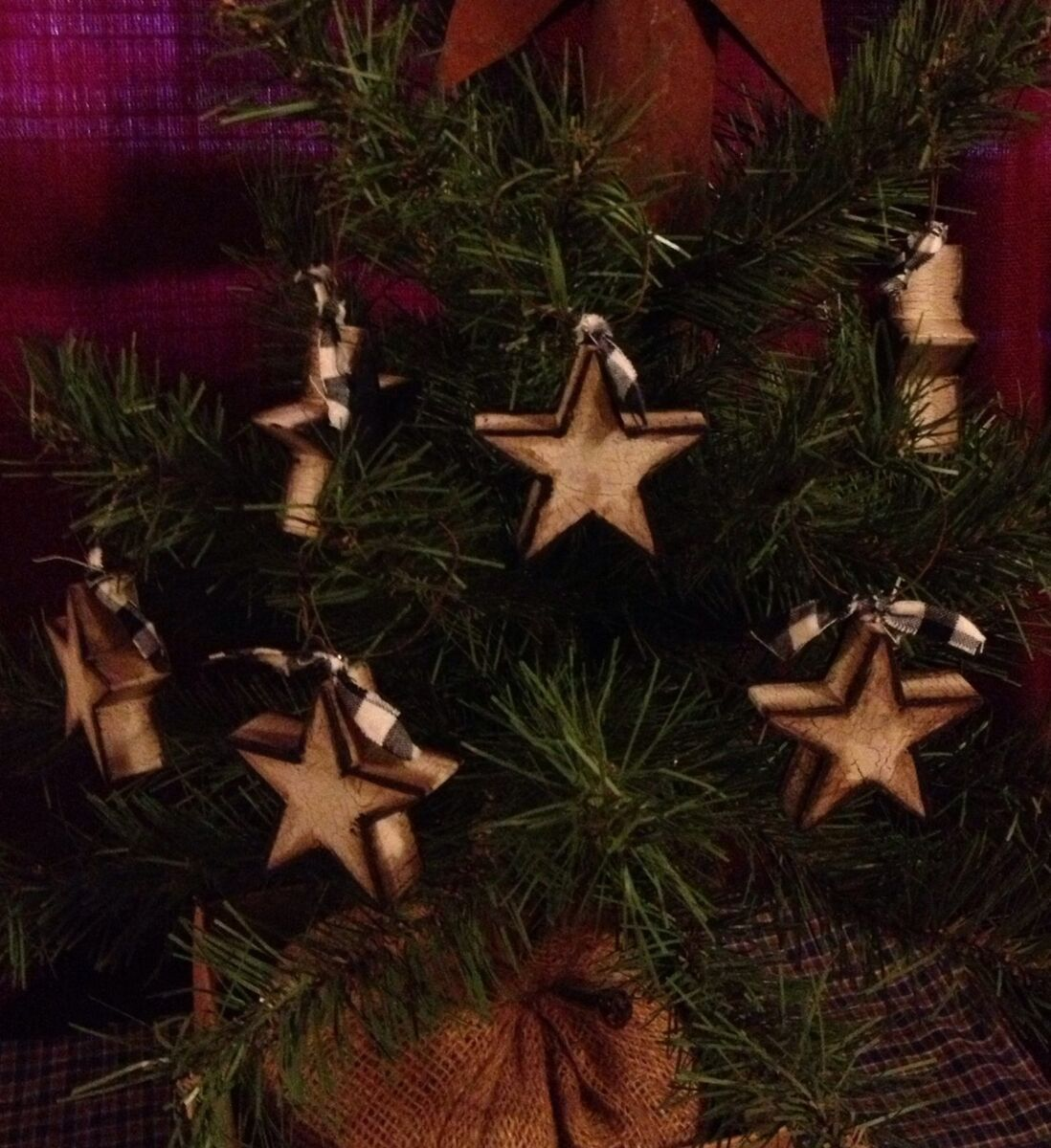 Primitive Wood Star Ornaments Crackle Country Farmhouse