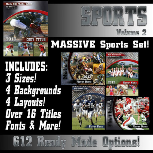 Pro Sports Templates V2 Photoshop PSD Backgrounds Seniors Team Mate in Cameras & Photo, Lighting & Studio, Background Material | eBay