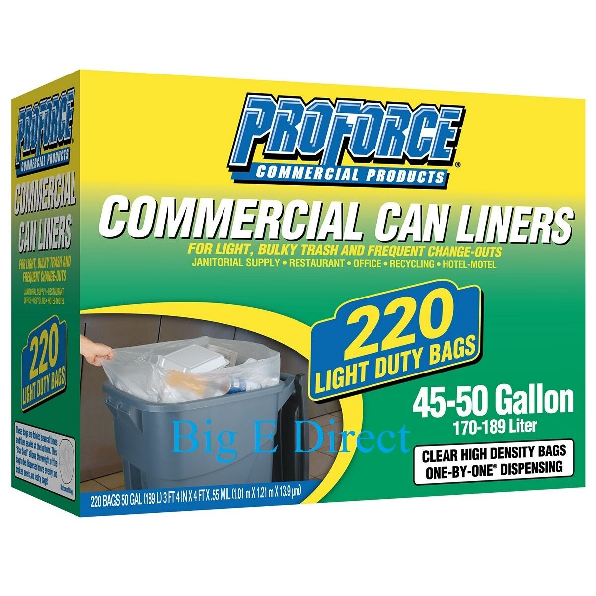 ProForce Commercial Can Liners 45 50 Gallon 220 Ct Garbage Trash Can Clear Bag