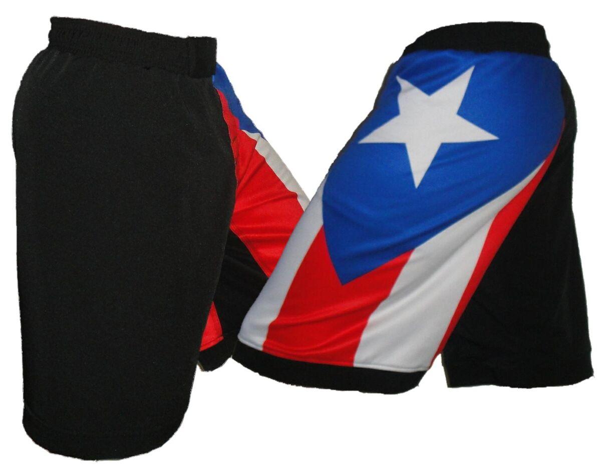 Puerto Rico Flag Mixed Martial Arts Shorts Blank MMA Shorts