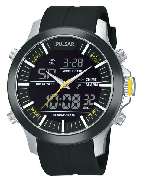 pulsar s pw6001 black chronograph digital analog