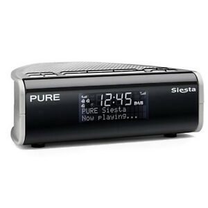 pure siesta dab digital fm bedside alarm clock radio charcoal silver vl 60899 ebay. Black Bedroom Furniture Sets. Home Design Ideas