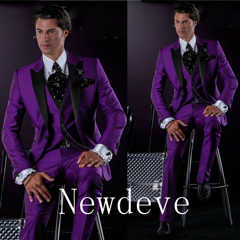 Purple Black Satin Groom Tuxedos Groomsman Suit High Quality