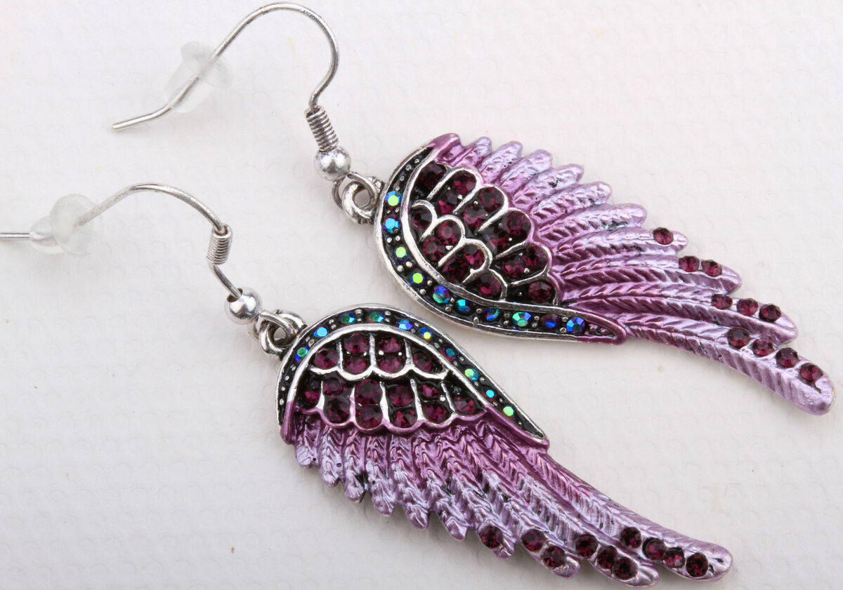 Purple Crystal Angel Wing Earrings EC23 Matching Ring Pin Pendant