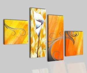 Quadri moderni astratti dipinti a mano olio su tela giallo for Quadri a olio fiori