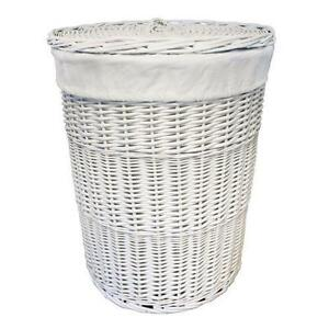 Quality large white wicker laundry basket round linen bin lined washable liner ebay - Wicker laundry basket with liner and lid ...